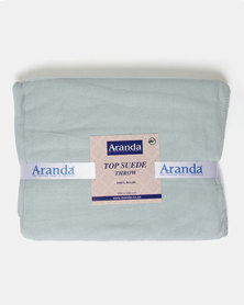 Aranda Large Top Suede Stitched Throw Pale Green