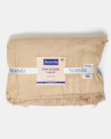 Aranda Large Top Suede Fringed Throw Gold