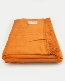 Aranda Large Top Suede Fringed Throw Orange