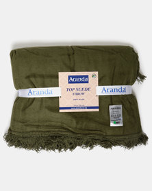 Aranda Large Top Suede Fringed Throw Green