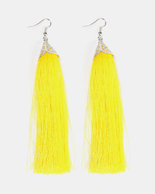 Black Lemon Trendy Tassel Earrings Silver and Yellow