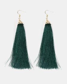 Black Lemon Trendy Tassel Earrings Gold-tone and Green