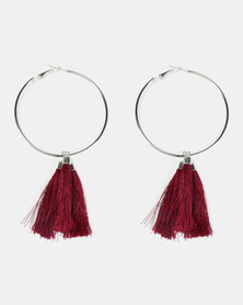 Black Lemon Multi Tassel Hoop Earrings Burgundy