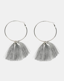 Black Lemon Multi Tassel Hoop Earrings Grey