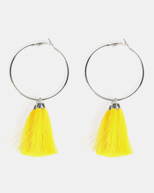 Black Lemon Multi Tassel Hoop Earrings Yellow