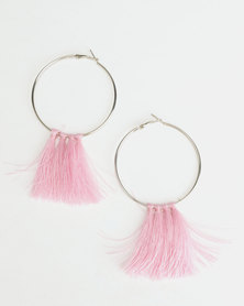Black Lemon Statement Tassel Earrings Blush