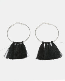 Black Lemon Statement Tassel Earrings Black