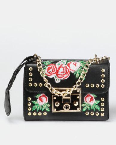 Blackcherry Bag Cross Body Bag With Flower Detail Black