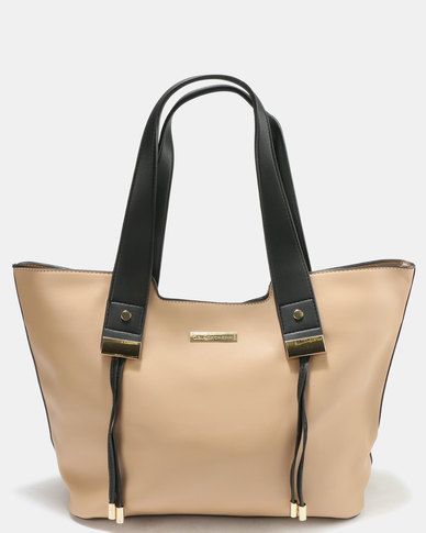 Blackcherry Bag Structured Tote Hand Bag Beige/Black