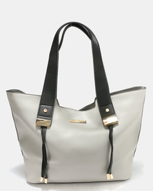 Blackcherry Bag Structured Tote Hand Bag Grey/Black