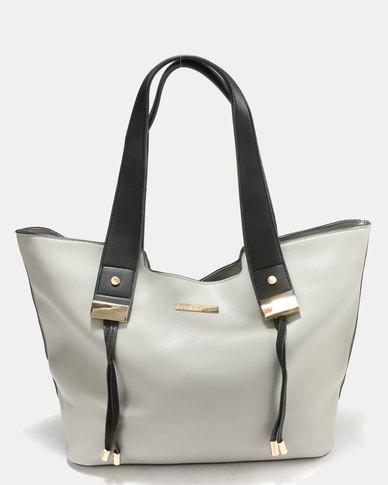 Blackcherry Bag Structured Tote Hand Bag Grey/Black