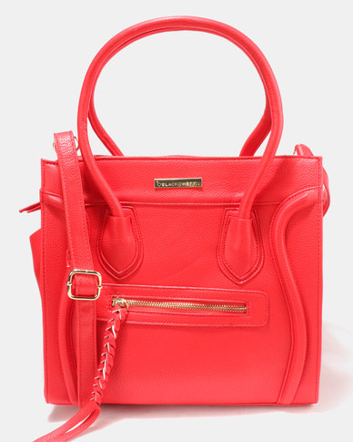 Blackcherry Bag Hand Bag With A Zip Detail Red