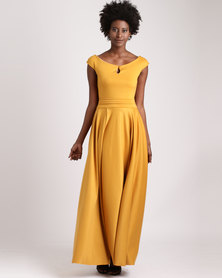 Blue Mango Maxi Dress With Pleated Full Skirt Mustard Yellow