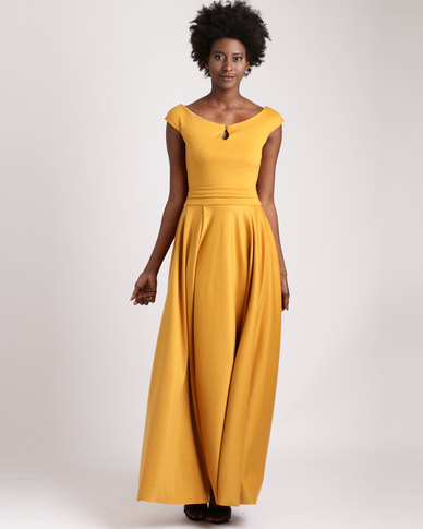 a3cdad7dd4 Blue Mango Maxi Dress With Full Skirt Mustard Yellow | Zando