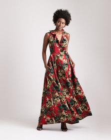 Blue Mango Floral Wraparound Maxi Dress Red