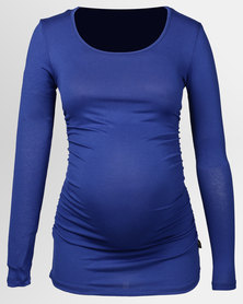Cherry Melon Round Neck Top With Side Detail Long Sleeve Cobalt