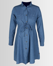 Cherry Melon Denim Drawstring Shirt Dress Mid Blue