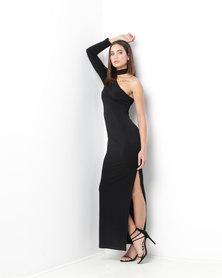 Gallery Clothing Shoulder Choker Dress Black