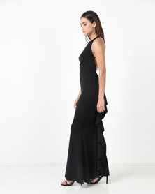 Gallery Clothing Chain Back Ruffle Dress With Cups Black