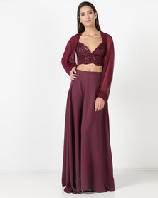 Gallery Clothing 4 Piece Garment Sequin Bustier Long Skirt Shorts and Mesh Shrug Burgundy