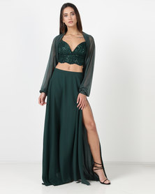 Gallery Clothing 4 Piece Garment Sequin Bustier Long Skirt Shorts and Mesh Shrug Green