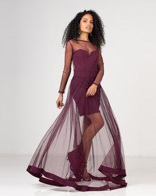 Gallery Clothing Mesh Overlay Dress Burgundy