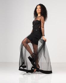 Gallery Clothing Mesh Overlay Dress Black