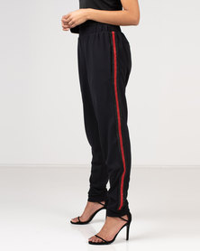 Gallery Clothing Trousers with Lurex Tape Black