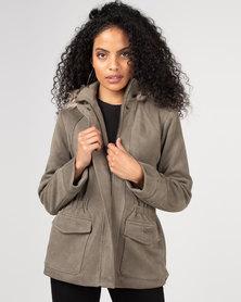 Gallery Clothing Faux Fur Trim Parka with Fleece Lining Khaki