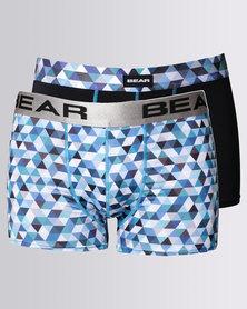 Bear 2 Pack Mosaic Triangle Bodyshorts Teal/Mosaic Blue