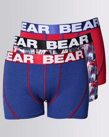 Bear 3pk Bear Hot Dad Stripe Bodyshort Red/Blue