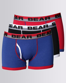 Bear 3pk Bear Moonfront Hipster Bodyshorts Red/Blue/Black