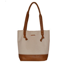 GTHOMAS Neutral Leather & Canvas Shopper Tote
