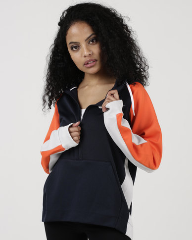 6708ed6839 Nike Womens NSW Hoodie HZ PK Mesh Dark Obsidian Rush Orange White ...