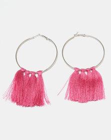 Black Lemon Statement Tassel Earrings Pink
