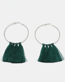 Black Lemon Statement Tassel Earrings Green