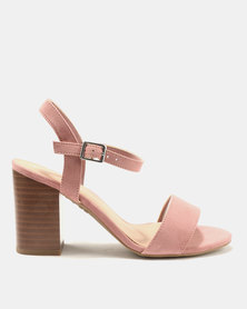 New Look Wide Fit Passion 5 Suedette 2 Part Block Heels Pink