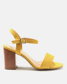 New Look Wide Fit Passion 5 Suedette 2 Part Block Heels Corn Yellow