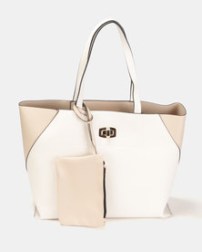New Look Carrie Colour Block Unlined Tote Oatmeal