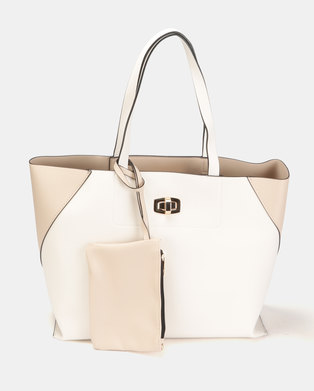 bf097dbb7ff New Look Carrie Colour Block Unlined Tote Oatmeal