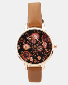 New Look Folk Print Dial Watch Light Brown