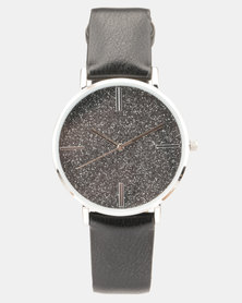 New Look Party Glitter Dial Strap Watch Black