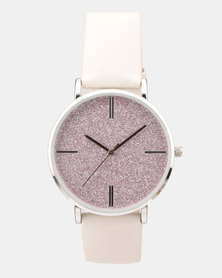 New Look Party Glitter Dial Strap Watch Pink
