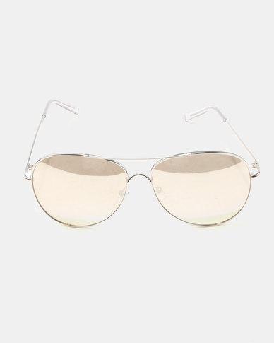 New Look Mirrored Pilot Sunglasses Silver-tone