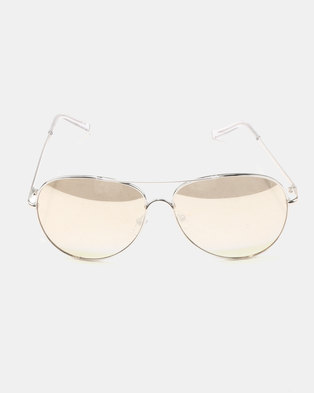 New Look Mirrored Pilot Sunglasses Silver-tone