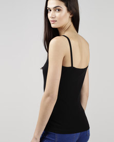 New Look Shoestring Strap Cami Top Black