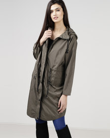 New Look Hooded Longline Parka Khaki