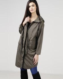 New Look Hooded Longline Parka Khaki