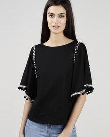 New Look Black Pom Pom Trim Flutter Sleeve T-Shirt Black
