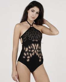 New Look Stud Embellished Cut Out Swimsuit Black